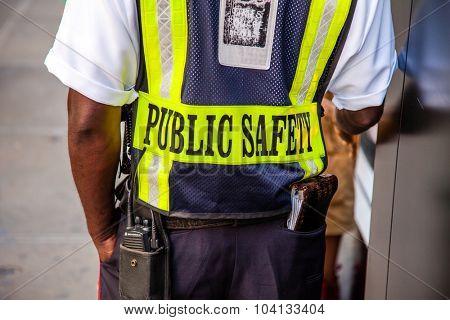 NEW YORK CITY, USA - CIRCA SEPTEMBER 2014: Safety guard in New York City