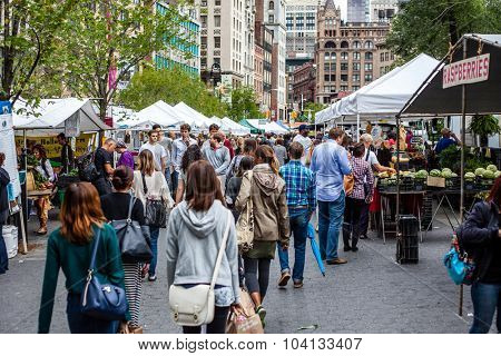 NEW YORK CITY, USA - CIRCA SEPTEMBER 2014: Green market at Union Square in New York City