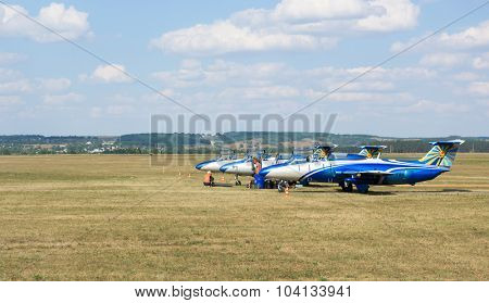 Kharkiv, Ukraine - August 24, 2015: planes on Korotych airfield at Kharkiv airshow