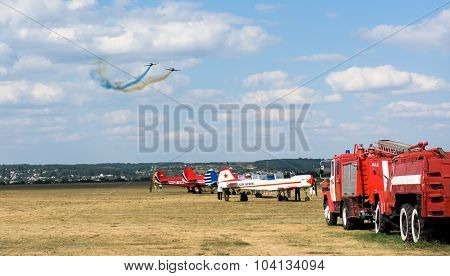 Kharkiv, Ukraine - August 24, 2015: airshow at Korotych airfield in Kharkiv