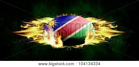 namibia rugby ball against dark background