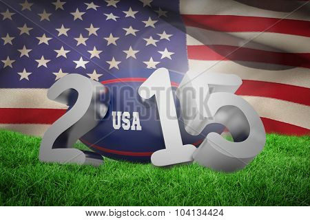 USA rugby 2015 message against close-up of american flag