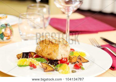 Crusted Swordfish Fillet With Grilled Vegetables