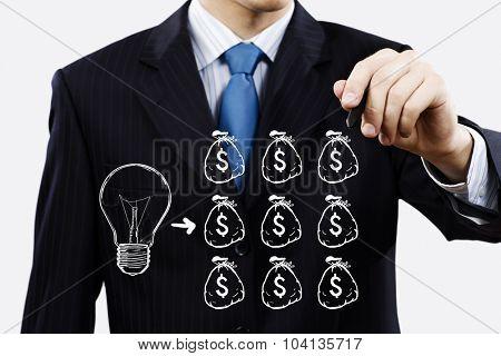 Close up of businessman drawing money making formula