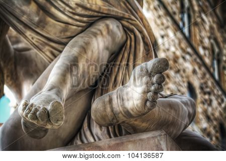 Detail Of Feet Of Ratto Di Polissena Statue