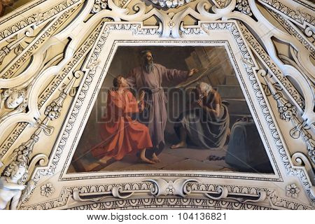 SALZBURG, AUSTRIA - DECEMBER 13: Fragment of the dome in the baptistery, Salzburg Cathedral on December 13, 2014 in Salzburg, Austria.