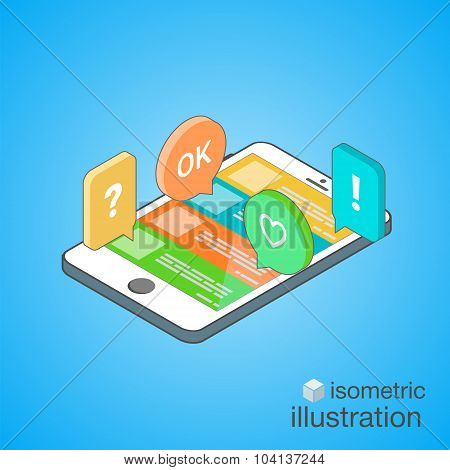 3D Smartphone With Colorful Speech Bubbles In The Isometric Projection. Mobile Chat. Isometric Vecto
