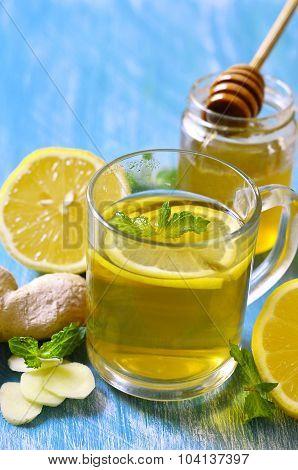 Hot Tea With Ginger,lemon,honey And Mint.