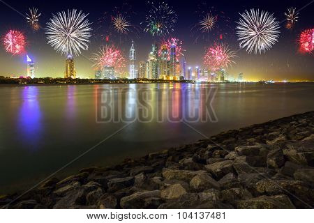New Year fireworks display in Dubai, UAE