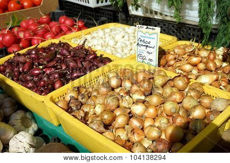 MOSCOW, RUSSIA - OCTOBER 04, 2015: Traditional Food Fair on the weekend. Onions on the counter.