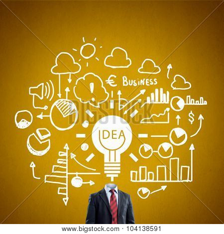 Unrecognizable businessman with business sketches instead of head on yellow background