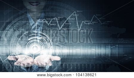 Close up of businesswoman hands presenting media concept