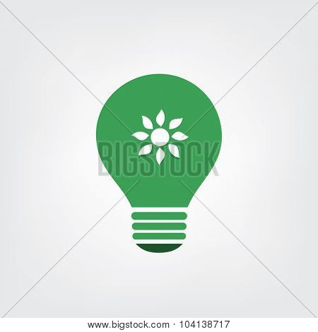 Green Eco Energy Concept Icon - Sun Inside the Light Bulb - Solar Energy
