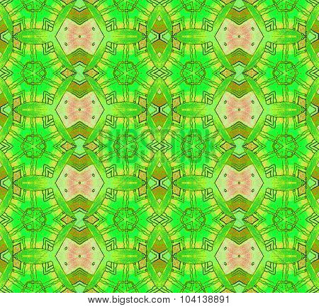 Seamless pattern bright green red brown