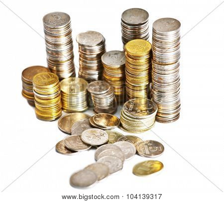 Abstract background with silver and gold colors coins