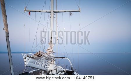 Travel On Modern Sailing Ship, View On The Bow