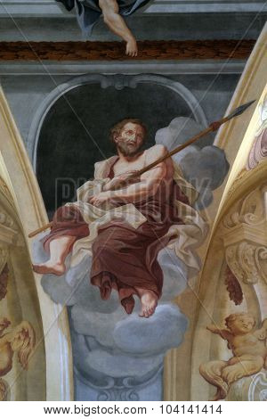 LJUBLJANA, SLOVENIA - JUNE 30: Saint Thomas the Apostle, fresco on the ceiling  of the Cathedral of St Nicholas in the capital city of Ljubljana, Slovenia on June 30, 2015