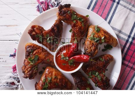 Grilled Chicken Wings With Sauce Chilli Close-up. Horizontal Top View