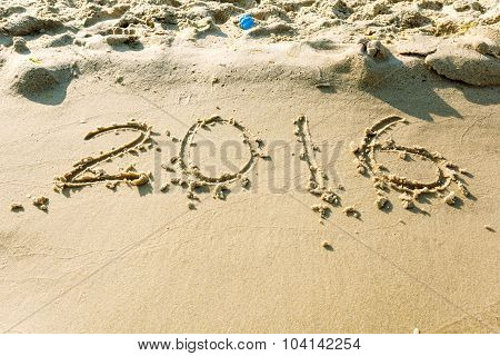 Year 2016 On The Beach For Background