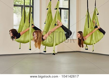 Antigravity yoga women exercise