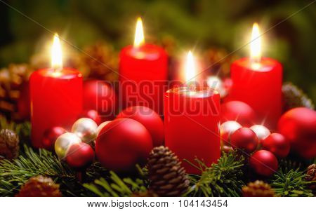 Advent Wreath With 4 Burning Candles
