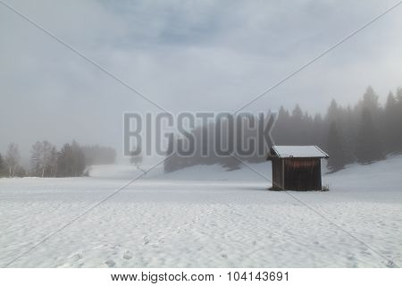 Foggy Winter Morning On Bavarian Countryside