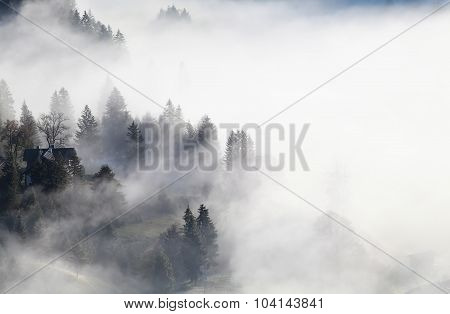 Bavarian Mountain Village In Dense Fog