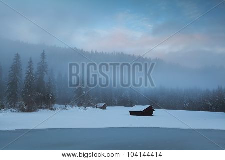 Old Huts In Winter Alpine Forest