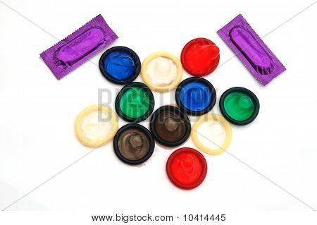Assorted Coloured Condoms and Packets