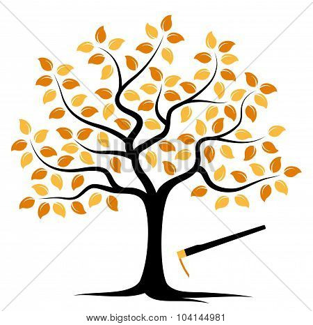 Autumn Tree And Hoe
