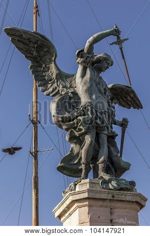 Statue Of The Archangel Michael At Castel Sant' Angelo