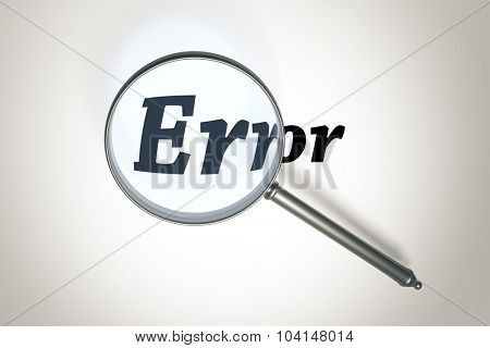 An image of a magnifying glass and the word error