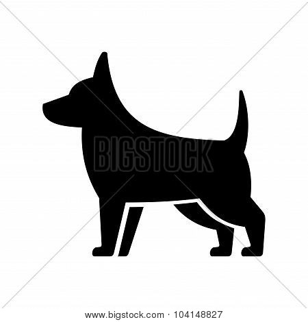 Simple Dog Icon on White Background. Vector