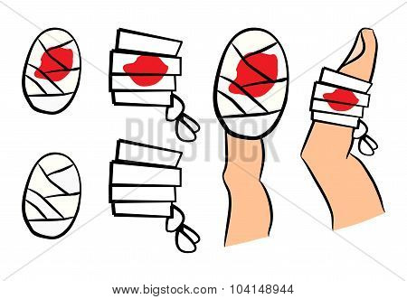 Set Of Bandage With Red  Blood Puddle. Medical Equipment In Different Shapes Single And On Finger. V