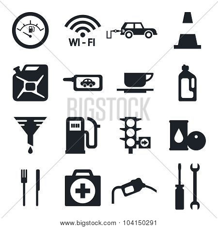 Black Fuel Pump and gas Station Icons