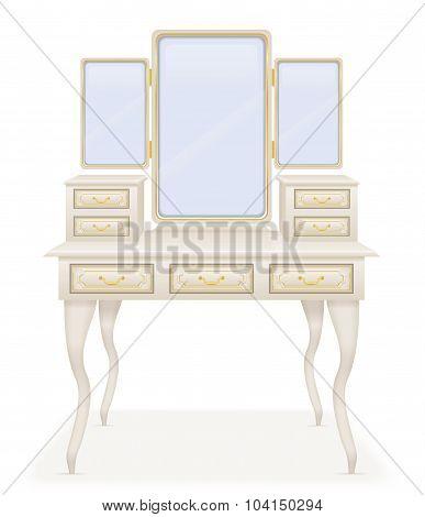 Vanity Table Old Retro Furniture Vector Illustration
