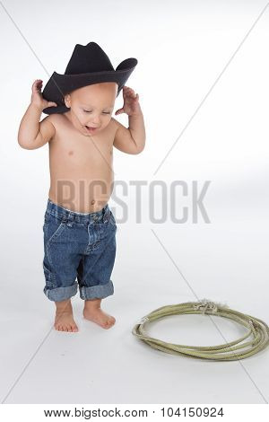 Baby Boy Dressed As Cowboy.
