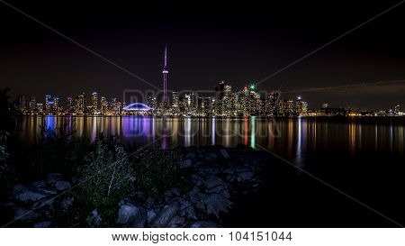 The Toronto skyline at night from Centre Island in Toronto.