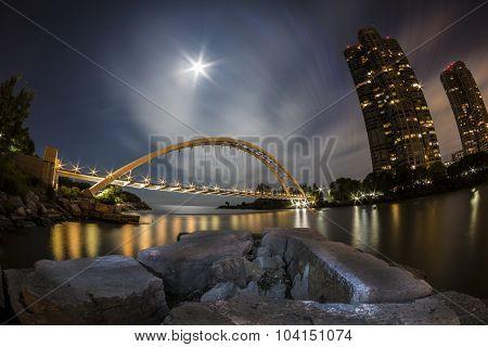 Bridge by Moonlight in Fisheye View