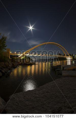 Harvest Moon Over the Bridge
