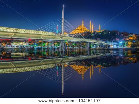 Ataturk bridge, metro bridge at night Istanbul