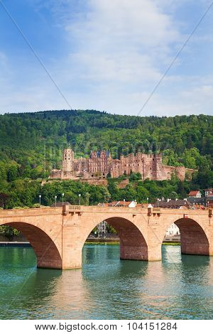 Alte Brucke bridge and Heidelberg castle view