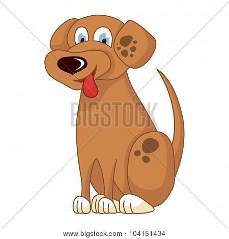 Cartoon smiling light brown spotty puppy, vector illustration of cute naughty dog