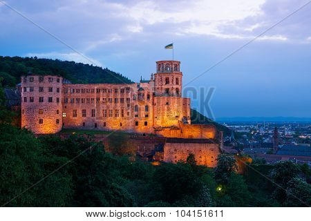Heidelberg castle during night time enlightened