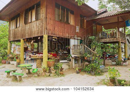 Exterior of the traditional Thai stilt house in Nakhon Sri Thammarat, Thailand.