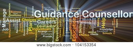 Background concept wordcloud illustration of guidance counsellor glowing light