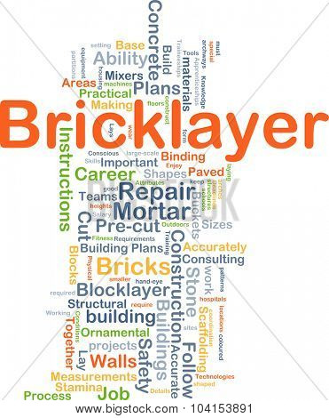 Background concept wordcloud illustration of bricklayer