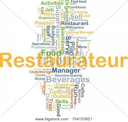 Background concept wordcloud illustration of restaurateur
