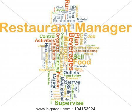 Background concept wordcloud illustration of restaurant manager