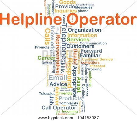 Background concept wordcloud illustration of helpline operator